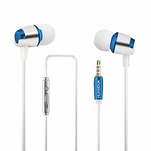 opfhörer, [Neue Version 2018] Dewanxin verdrahtete Earbuds Kopfhörer Wasserdicht Stereo-Sportkopfhörer mit Mikrofon für alle 3,5 mm Schnittstelle Gerät (Dunkelblau) ()