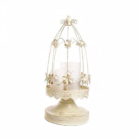 ZPSPZ Inneneinrichtungsgegenstände Dekorative Kerzenständer Ornamente Europäischen Eisen - Käfig Retro - Weiße Blumen,15,6 * (Architektur Blumen)