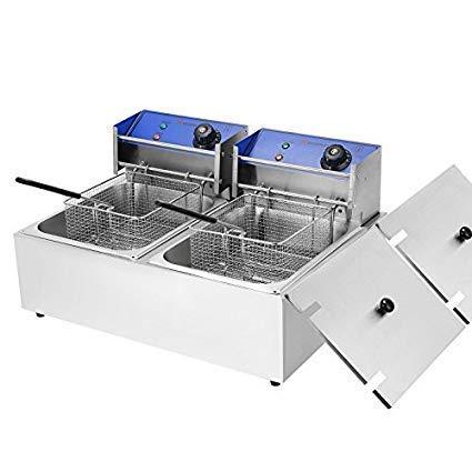 FROTH & FLAVOR Steel Double Deep Fryer 8+8 Ltrs Silver