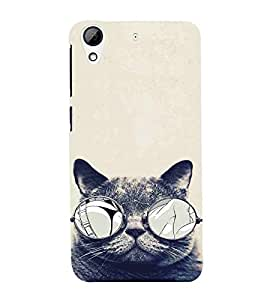 For HTC Desire 628 :: HTC Desire 628 Dual Sim Cat, Black, Cat With Specs, Smart Cat , Sweet Cat, Printed Designer Back Case Cover By CHAPLOOS