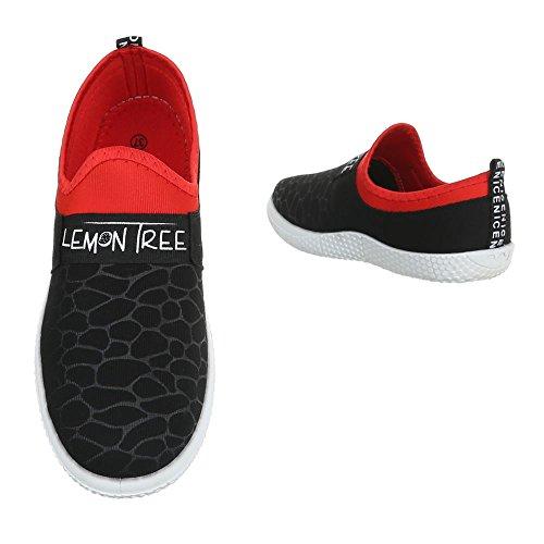 Slipper Damenschuhe Low-Top Sneakers Ital-Design Halbschuhe Schwarz