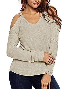 Jersey con Hombros Descubiertos Suéter Básico Unicolor para Mujer