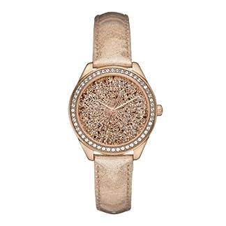 Guess Ladies Trend W0156L1 – Reloj para mujeres, correa de cuero color oro rosa