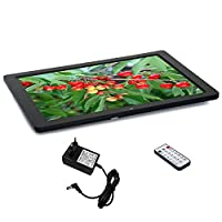 15 Inch Digital Photo Frame, 1280 * 800 HD Picture Video(1080P) Frame with Remote control, supports Multiple File Formats and External USB SD Memory, Black