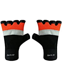 Sports 101 X7000 Twin Net Leather Fitness Gloves, Free Size (Orange/Black)