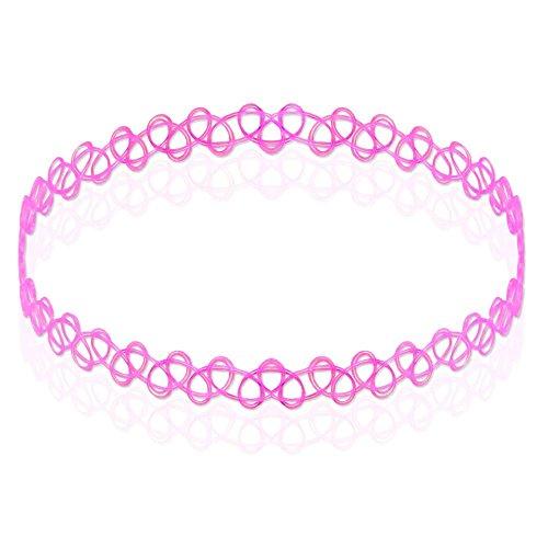 tumundo Tattookette Schmucksets Halskette Henna Vintage Set von 2 od 6 STK / 1 STK Boho Choker Dehnen Elastisch Stretch, Farbe:pink - Pink Henna