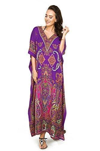 Neu Damen Überdimensional Maxi Kimono Kaftan Tunika Kaftan Damen Top Freie Größe 30378-purple