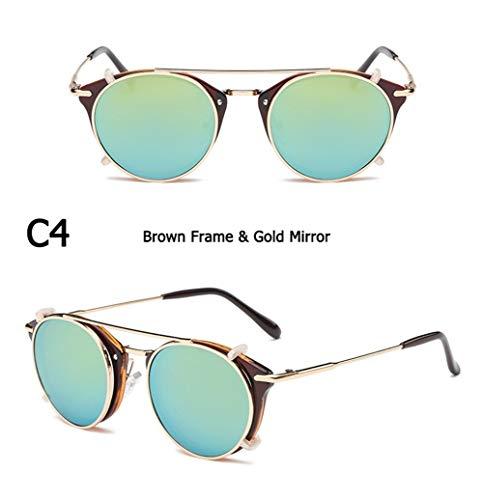 Mode SteamPunk-Stil Objektiv Abnehmbare Coole Sonnenbrille Clip Auf Vintage Brand Design Sonnenbrille Oculos De Sol (Lenses Color : C4)