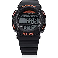 Leopard Shop HOSKA H007B Digital Children Sport Watch EL Backlight Chronograph Calendar Alarm Wristwatch Water Resistance Black Orange
