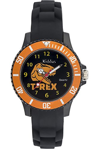 Reloj niño chico infantil Sporty de cuarzo con DINOSAURIO T-REX, correa de silicona, caja de regalo, SUMERGIBLE al agua (5ATM), Mecanismo SEIKO Batería SONY, Kiddus KI10111
