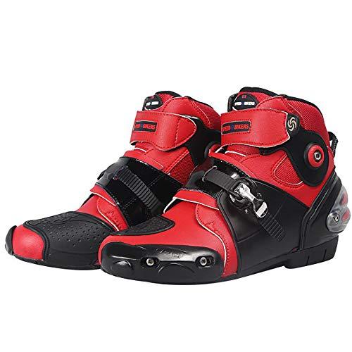 Stivali da Moto, Slittata Stivali da Motocross, Impermeabile Scarpe da Moto, Quattro Stagioni Marche Popolari Stivali da Viaggio per Moto,Red-44.5