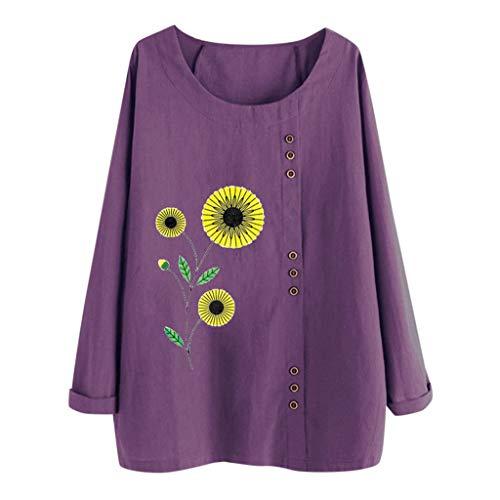 Andouy Damen Beiläufig Drucken Fake Knopf Hemd Übergroß Lange Ärmel Rundhals Pullover Oberteile Bluse(2XL(48).Lila Blume)
