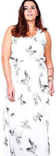 Chocolate Pickle® Neu Frauen Plusgröße Chiffon Taille Belted Gebunden Voll liniert Scoop Hals Maxi Kleid 44-54 White-Butterfly