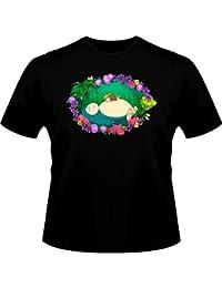T-Shirt Parodie Ronflex et Ondine de Pokemon à la sauce Totoro et Mei - Petite sieste en forêt... - T-shirt Homme Noir - Haute Qualité