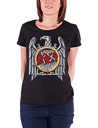 Slayer T Shirt Argenté Eagle Band Logo Nouveau Officiel Femme Skinny Fit