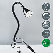 Lampe de chevet à pince avec ampoule led GU10 incluse I col de cygne flexible I lumière de lecture I chambre à coucher et bureau I 3 niveaux de luminosité I liseuse I 230 V I IP20 I 5 W