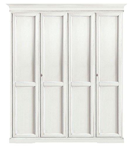 L'aquila design arredamenti classico armadio shabby chic bianco 4 ante battenti guardaroba economico 210x67x250 1474