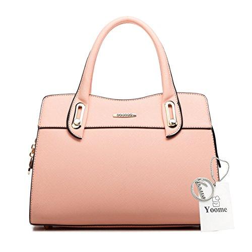 Yoome grande capacità rivetti borsa a tracolla singola con manico in lattice borsa a tracolla per donne - rosa Rosa