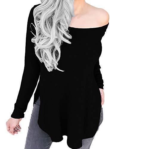 Vovotrade ✿ moda donna sexy split manica lunga solid top senza spalline camicetta a maglia fredda