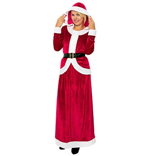 Kostüm Deluxe Mrs Claus - Miss Mrs Santa Claus Deluxe Father Women Elf Helper Christmas Fancy Dress Outfit