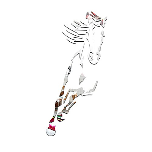 Lnpp decorazione 3d della decorazione del cavallo decorazione della decorazione della decalcomania della parete dell'autoadesivo della parete dello specchio acrilico del decalcomanie , silver: 92*45cm