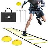 Agility Speed Ladder Rung 6M-12 met 8 en 4 Stakes Kegels for Kids volwassenen Soccer Speed & Agility trainning Inclusief Handbag