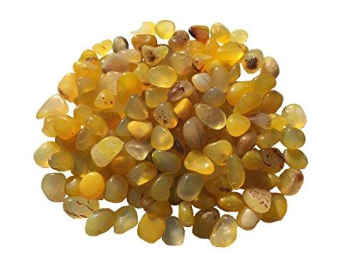 250g gelber Achat Kies feine Edelstein Körnung gelber Achat Kiesel Aquarium Kies Durchmesser ca. 15mm bis 7mm Halbedelsteine Wasserteine Dekosteine gelber Achat von CRYSTAL KING