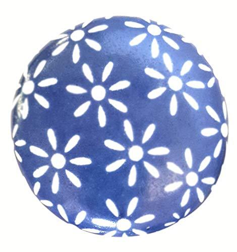 French Furniture Fittings FFF Keramikknöpfe, für Küchenschränke, Schranktüren, Kommode, Möbel, Schubladengriffe, Porzellan, blaue Gänseblümchen, Vintage-Stil, Shabby Chic, 38 mm, 6 Stück