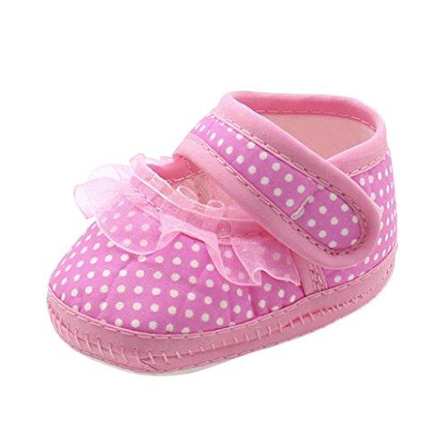 FNKDOR Neugeborene Baby Mädchen Schuhe Spitzen Verzieren Weiche Sohle Hausschuhe(06-12 Monate,Pink)