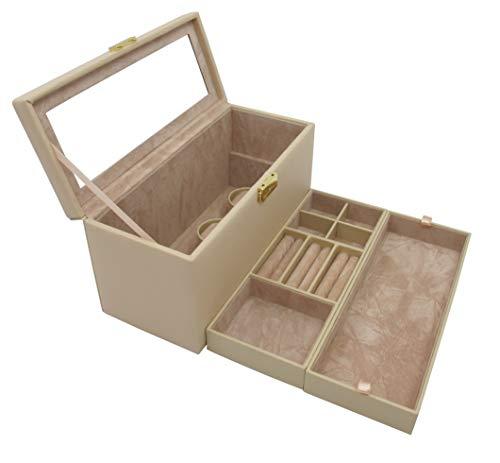 Cordays - Coffret à Bijoux Deluxe Moyen et Compact pour Femme avec Serrure et 2 Plateaux Amovibles. Boîte Organiseur Fait Main. Sable CDL-10032