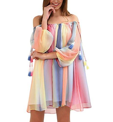 Vestidos Mujer Cortos Playa Gasa Arcoiris Colores 3/4 Manga Cuello Barco Basic Hombro Descubierto Anchos Hippie Moda Casual Vestido Playa Vestidos Camiseros Ropa (Color : Amarillo, Size : S)