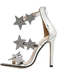ZPFME Tacones Altos De Las Mujeres Brillantes Estrellas Diamantes Sandalias Sexy Correa De Tobillo Vestido De Las Señoras Peep Toe Zapatos Fiesta De Boda Strappy Pumps