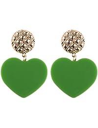 XJYA Pendientes De Corazón De Melocotón, Resina Rosa Forma De Corazón De Aleación Multicolor Pendientes Colgante De Mujer,Green