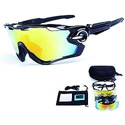 TOPTETN Gafas de Sol Deportivas polarizadas Protección UV400 Gafas de Ciclismo con 5 Lentes Intercambiables para Ciclismo, béisbol, Pesca, esquí, Funcionamiento (01)