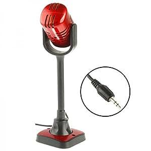 Microphone PC studio rétro jack 3.5mm filaire support rouge noir