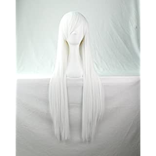 Womens Ladies Girls 80cm White Color Long Straight Wigs High Quality Hair Carve Cosplay Costume Anime Party Bangs Full Sexy Wigs