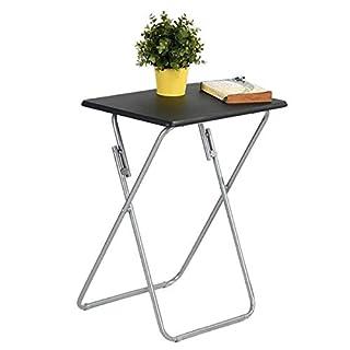 Aingoo Klappbar Beistelltisch Metallgestell mit Holztischplatte sehr Platzsparend und Robust, kann auch als Campingtisch,Klein Kaffeetisch,Gartentisch,Arbeitstische (Schwarz, 1)