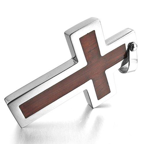 MunkiMix Edelstahl Holz Anhänger Halskette Silber Ton Braun Kruzifix Kreuz Herren,mit 58cm Kette