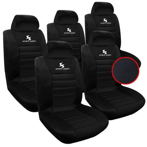 WOLTU AS7254-5 Set Coprisedili Auto 5 Posti Seat Cover Protezioni Universali per Macchina Tessuto Poliestere Nero