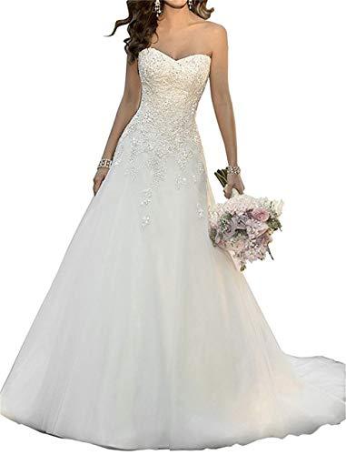 ANJURUISI Sweetheart Appliques Perlen Klassische Organza A-line Brautkleider Wei?-38