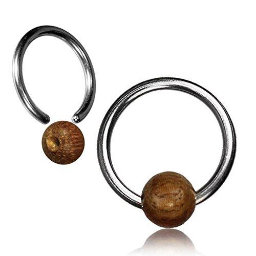 Teakholz Universal Piercing Klemmkugel Ring silbern Septum Helix Tragus