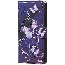 Housse Galaxy A3 (2016),Etui en Rabat Case Protecteur Étui en Cuir Pour Samsung SM-A310F Galaxy A3 (2016) Coque Portefeuille Housse de Protection Wallet Case Cover (Papillon violet)