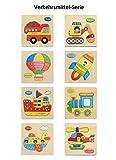 BYM Kinderpuzzle Holzpuzzle Lernspielzeug Intelligenz Pädagogisches Spielzeug für Kinder ab 2 Jahre 8 Stück (Verkehrsmittel-Serie)