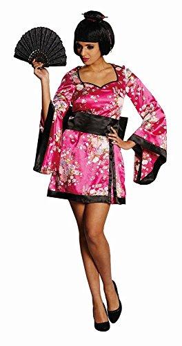 mit Perücke, Größe 34, mit Gürtel und Geisha Girl Perücke, Erwachsenen Kostüm, Damen (Geisha Girl Perücke Halloween)