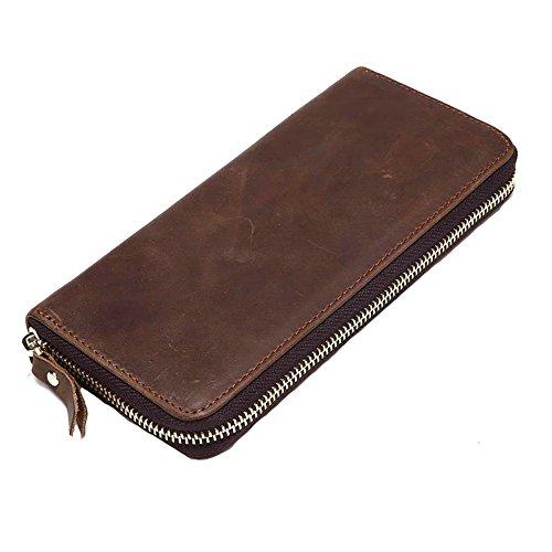 XKMON Raccoglitore della frizione Vintage borsa lunga da uomo cuoio genuino cerniera per Pochette maschile in pelle per uomo 8875 Marrone Marrone