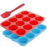 Muffinschale für 12 Muffinform-Bonus mit Wender, Silikon, Sourceton 3-teiliges Muffinform- und Spachtelset,Antihaft-Backform,flexibel,Cupcake-Pfannen,Geschirrspüler,Backofen,Mikrowellenfest.Blau + Rot