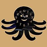 ffeei Persönlichkeit Tintenfisch Kreativ Spiegel Wanduhr DIY Wohnzimmer Sofa Hintergrund Stereoanlage Wandaufkleber Uhr,BlackMirror