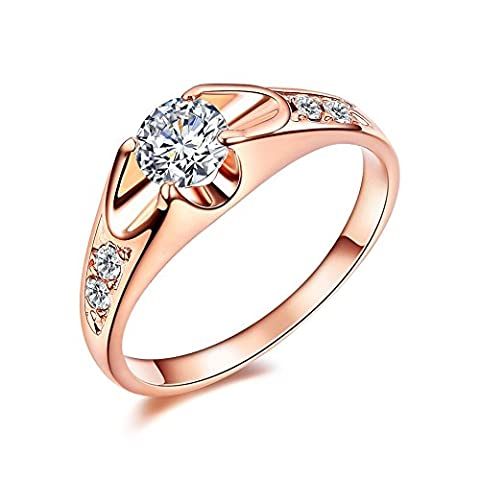 Atistic 18ct Rose Gold Plated 0.5ct CZ Tension Mount Ladies Engagement Rings, Size M