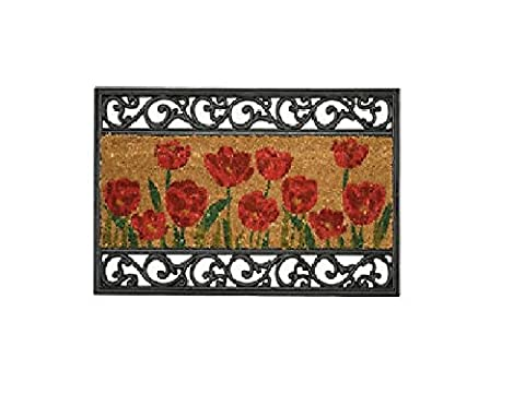 William Armes Wrought Iron Effect with Coir and Wild Poppy Design, 75 x 45 cm