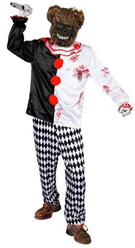 ILOVEFANCYDRESS Zirkus/Clown KOSTÜM VERKLEIDUNG+GRUSEL BÄREN ODER Hasen Masken+Plastik Messer=KOSTÜME+Plastik Messer+Maske IHRER Wahl Halloween Fasching Karneval=MEDIUM+BRAUNER BÄREN Maske (Drama Kostüm Medium)